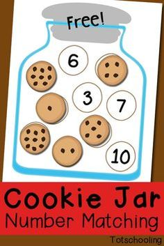 Cute Cookie Jar Number Matching Game. Fun preschool math activity! Preschool Activities, Preschool Kindergarten, Toddler Preschool, Number Games Preschool, Subitizing Activities, Preschool Printables, Free Printables, Math Games For Preschoolers, Number Recognition Activities