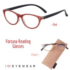 Our Fortuna readers are a fresh take on the classic cat eyeframe. Available in Red (shown above), Peach (shown below), Blue and Green! Get yours today at http://www.ihearteyewear.com.