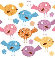 Cartoon birds pattern vector