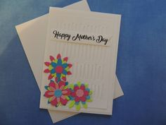 Mother's Day Card - Pink & Blue Stitched Flowers - Free Shipping by LagniappeEmporium on Etsy