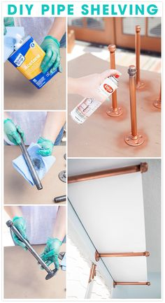 17 Easy and Quick DIY Pipe Shelves to Save Space Efficiently Diy Pipe Shelves, Pipe Shelving, Copper Pipe Shelves, Boutique Interior, New Crafts, Diy And Crafts, Deco Boheme Chic, Design Basics, Style Deco