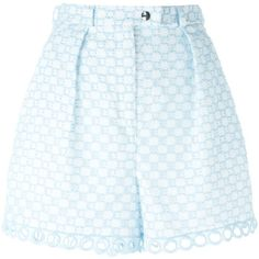 Carven Embroidered Shorts ($377) ❤ liked on Polyvore featuring shorts, blue, embroidered shorts and blue shorts