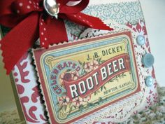 Vintage style root beer label shabby chic by cherrysjubileecards