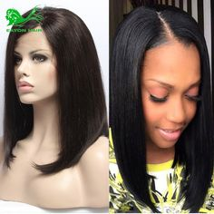 7A Silk Straight Full Lace Human Hair Wigs For Black Women Lace Front Human Hair Wigs With Baby Hair Short Human Hair Bob Wigs