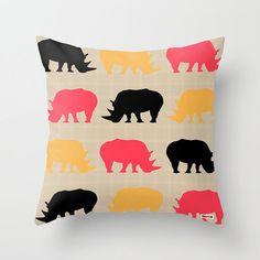 Rhinoceros Decorative throw pillow cover  Animal by thegretest, $55.00