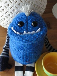 Adopt a Smug Monster plush upcycled from by BirdIsTheWordDesign, $40.00