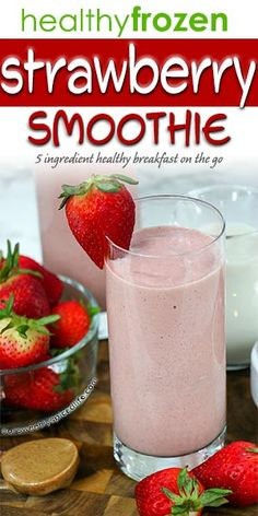Healthy Frozen Strawberry Smoothie - treat yourself to a quick and easy breakfast with this healthy frozen strawberry smoothie recipe! This 5 ingredient healthy smoothie is the perfect strawberry smoothie: it's a strawberry smoothie without yogurt, banana, sugar, or ice! An easy strawberry smoothie, it's sure to be popular with kids and adults alike! Make this for a breakfast on the go or enjoy it for a healthy breakfast idea! #smoothies #strawberry Healthy Fruit Snacks, Nutritious Smoothies, Healthy Juices, Best Smoothie Recipes, Fruit Recipes, Drink Recipes, Healthy Recipes, Strawberry Smoothie Without Yogurt, Happy Birthday