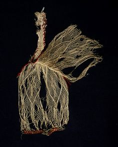 Sprang hat from the Victoria and Albert Museum, Egypt, 330-540 AD. Linen and wool in sprang, Museum number: 50-1891