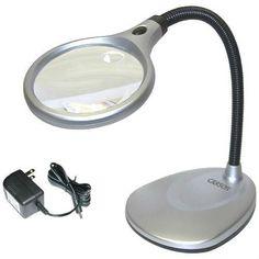 LED Illuminated 2X Magnifying Glass / Desk Lamp