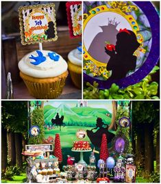Snow White themed birthday party via Kara's Party Ideas KarasPartyIdeas.com Cake, cupcakes, invitation, supplies, games, and more! #snowwhit...