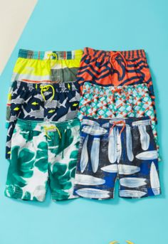 Shop board shorts in brightly colored surf inspired prints and patterns!