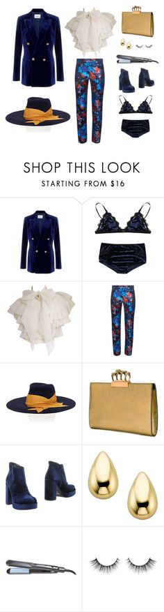 """""""Happiness Is A Warm Gun"""" by erin-black-cost ❤ liked on Polyvore featuring Maison Di Prima, Mary Katrantzou, Littledoe, Alexander McQueen, UnLace and Bio Ionic"""