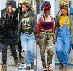 rihanna, ocean's 8 Black Girl Fashion, Look Fashion, 90s Fashion, Fashion Outfits, Rihanna Looks, Rihanna Style, Rihanna Casual, Rihanna Faux Locs, Rihanna Dreadlocks