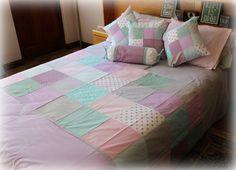 Girl's bed linen in soft lilac, aqua & grey. Custom ordered.  Tula-tu Baby Linen