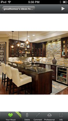 Basement bar, brick not stone, on a smaller scale of course.