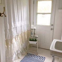 DIY Lace Ruffle Shower Curtain Bohemian Shabby Chic Bathroom - Hallstrom Home - 1 Shabby Chic Shower Curtain, Ruffle Shower Curtains, Shabby Chic Curtains, Cheap Curtains, Rustic Curtains, Bathroom Curtains, Roman Curtains, Beige Curtains, Patterned Curtains