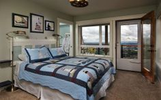 The Oregon Coast Room is on the main floor, so no stairs to deal with.  It has a private, attached bathroom with walk-in shower, fireplace, queen-size bed and private deck with valley views.