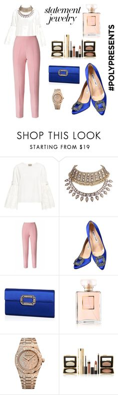 """#PolyPresents: Statement Jewelry"" by lora7118 ❤ liked on Polyvore featuring Sea, New York, WithChic, Esme Vie, Manolo Blahnik, Roger Vivier, Chanel, Audemars Piguet, Estée Lauder, contestentry and polyPresents"
