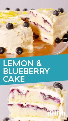 This light and fluffy lemon and blueberry sponge cake with buttercream is one of our favourite summer bakes. Perfect for afternoon tea, garden parties or just a midweek treat - this cake couldn't be easier to make or more impressive to serve. You can either use a box of cake mix or make your own sponge from scratch - it's up to you! Blueberry Desserts, Lemon Desserts, Delicious Desserts, Lemon Blueberry Cakes, Blueberry Cream Cake Recipe, Strawberry Cake Recipes, Cake Mix Recipes, Baking Recipes, Icebox Cake Recipes