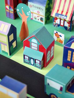 Free printable house - download and print the entire paper toy neighbohood of houses, people, and cars too. 30+ designs. via SmallforBig.com