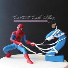 Spider-Man Topper - Cake by Eliana Cardone - Cartoon Cake Village Spiderman Cake Topper, Spiderman Birthday Cake, Spiderman Theme, Superhero Theme Party, 4th Birthday Cakes, Novelty Birthday Cakes, Superhero Cake, Boy Birthday, Birthday Cakes