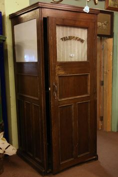 Buy online, view images and see past prices for oak Hotel Telephone booth. Invaluable is the world's largest marketplace for art, antiques, and collectibles. Antique Phone, Antique Clocks, Telephone Booth, Vintage Telephone, Door Signage, Casa Loft, Plywood Furniture, Retro Phone, Vintage Phones