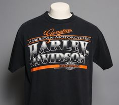 vintage early 90s harley davidson logo print black cotton t-shirt.