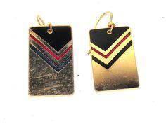 Laurel Burch Aztec Gold Tone Black Red Enamel Earrings Drop Dangle #LaurelBurch #DropDangle