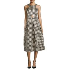 Phoebe Halter Jacquard Cocktail Dress ($495) ❤ liked on Polyvore featuring dresses, zipper back dress, halter cocktail dress, halter neck dress, full skirt and cutout dress
