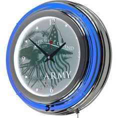 U.S. Army This We'll Defend Neon Clock, 14 inch Diameter, Multicolor