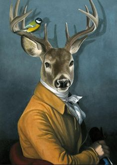 OFF - Wild Animals Dressed as Humans canvas art Lapin Art, Kunst Poster, Horse Wall Art, Deer Art, Human Art, Animal Heads, Animal Paintings, Pet Portraits, Art Drawings