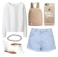 """""""Girly casual"""" by marloesi ❤ liked on Polyvore featuring Uniqlo, Boohoo, Steve Madden, Casetify, Topshop and Jeffrey Campbell"""