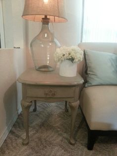 Refinished Queen Anne End Table In French Linen Chalk Paint With Clear And  Dark Wax.