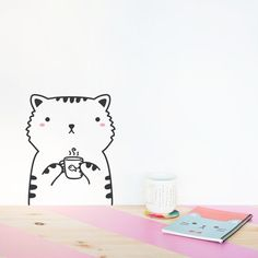 Tiny Sisi the cat Door Friend decal / Stickers for doors, windows, closets or fridges / Nursery decor / Cat Vinyl sticker decals / Kitten