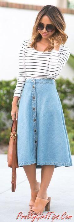 Striped Top Denim Midi Button A-skirt