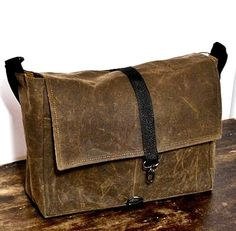 PMB 1011 Large Waxed Canvas  Messenger Bag by WhiteCrossDesigns, $84.99