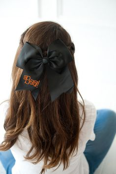 Halloween Black Hair Bow L x W H Grosgrain Ribbon Alligator Clip Branded Packaging Included Preset Embroidery Halloween Hair Clips, Black Hair Bows, Monogram Necklace, Monogram Initials, Inspirational Gifts, Grosgrain Ribbon, Crafts, Fashion, Moda