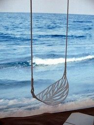 On a leaf swing. I love this, would do it for a tree swing in backyard! Surf Vintage, Deco Nature, Outdoor Living, Outdoor Decor, Outdoor Swings, Indoor Swing, My Dream Home, The Great Outdoors, My House