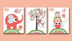 Kinderzimmer Poster Set Elefant und Feunde (DIN A4 Matt)