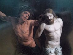 Detail of Flagellation of Christ by Alessandro Turchi, first quarter of the century, National Museum in Poznań. Painted on slate. Flagellation, National Museum, 17th Century, Slate, Christ, Oil, Detail, Character, Chalkboard