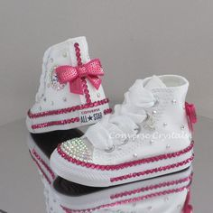 2d41b74d1c19 Baby Toddler Girls Custom Crystal Bling Converse Double