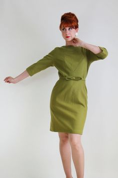 1960s Olive Green Wool Wiggle Dress. Day Dress. by gogovintage, $84.00