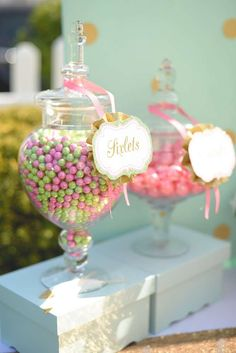 Peter Pan Tinkerbell Birthday Party candy jars! See more party planning ideas at CatchMyParty.com!