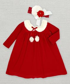 Look at this Red Fur Collar Dress & Headband - Infant on #zulily today!