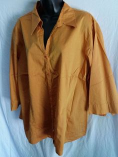 venezia stretch button front blouse 3/4 sleeve size 22/24 burnt orange #Venezia #Blouse #Casual