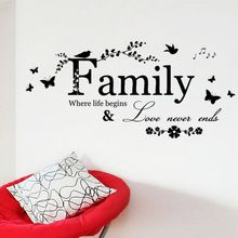 1Pcs 60*19cm New Family Love Never Ends Quote Wall Stikers Art Words Poster Home Decor Wedding Decoration(China (Mainland))
