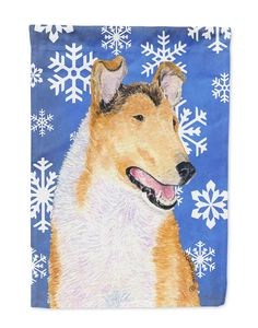 Collie Smooth Winter Snowflakes Holiday Flag Garden Size