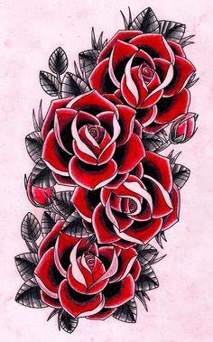 rose old school tattoo Dope Tattoos, Trendy Tattoos, Body Art Tattoos, Tattoo Drawings, Sleeve Tattoos, Tattos, Rose Tattoos For Men, Tattoos For Guys, Tattoos For Women