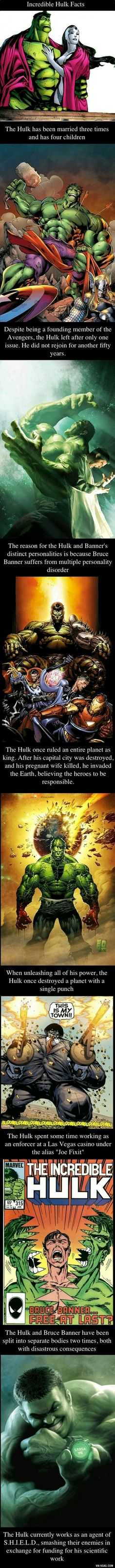 The only Hulk fact that i can see that is wrong is the one about Joe fix It. That is a different Hulk entirely. You can learn all about the Hulks at Marvel Comics website. Comic Movies, Comic Book Characters, Comic Book Heroes, Marvel Characters, Comic Character, Comic Books, Marvel Dc Comics, Marvel Heroes, Hulk Marvel