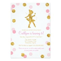 Glitter Birthday Party Invitations Glitter Ballerina, Pink and Gold Sparkle Birthday Card